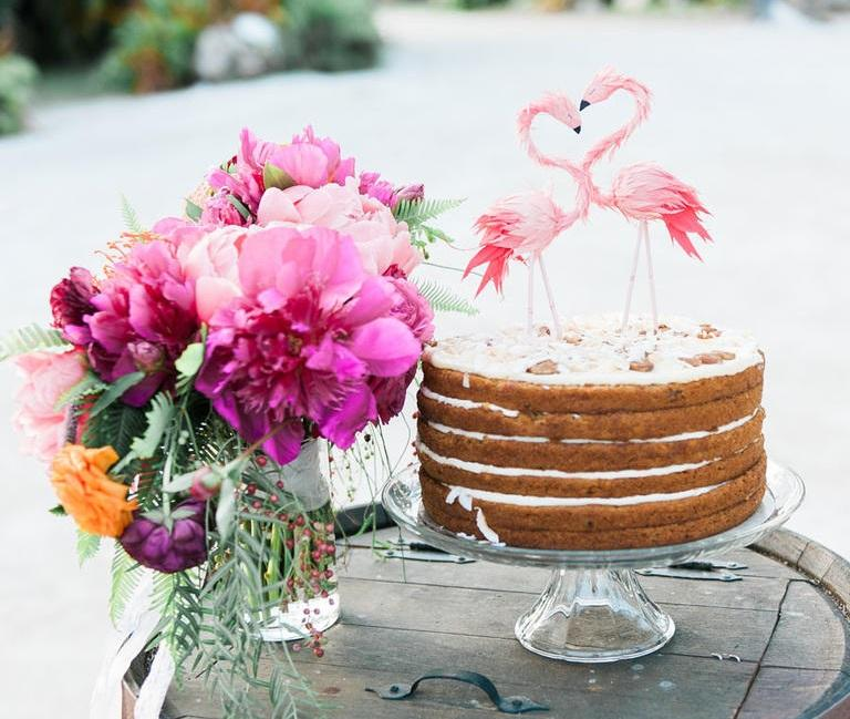 Naked Cake with Flamingo Topper, picture by Shea Christine, seen on The Knot | Aruba Weddings | Beach Brides