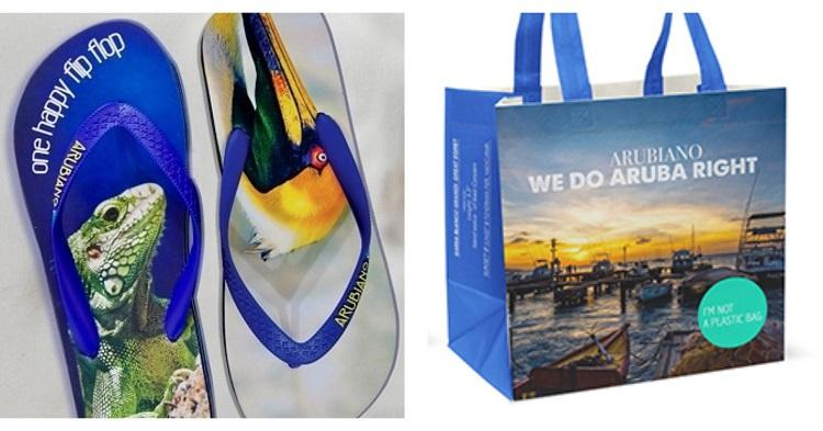 Aruba Wedding Favors | Arubiano Grocery Bags with Arubiano Flipfops | Aruba Destination Weddings